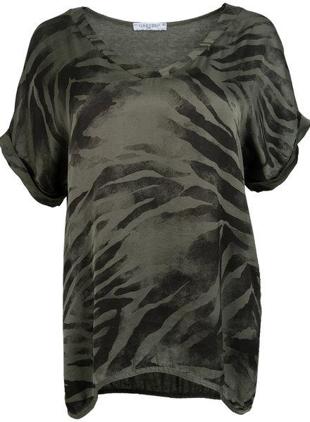 Gemma Ricceri Shirt v hals Kim legergroen