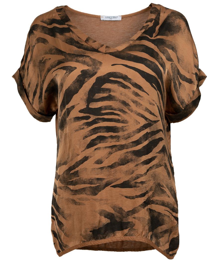 Gemma Ricceri Shirt V - hals Kim camel