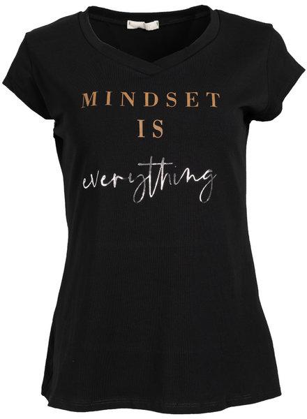 Gemma Ricceri Shirt Mindset zwart/camel