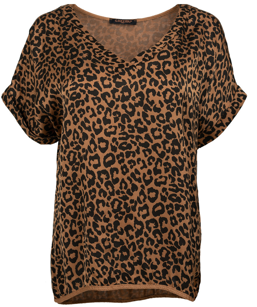 Gemma Ricceri Shirt silk touch v hals panterprint camel