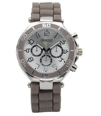 Ernest Horloge rubber zilver Taupe