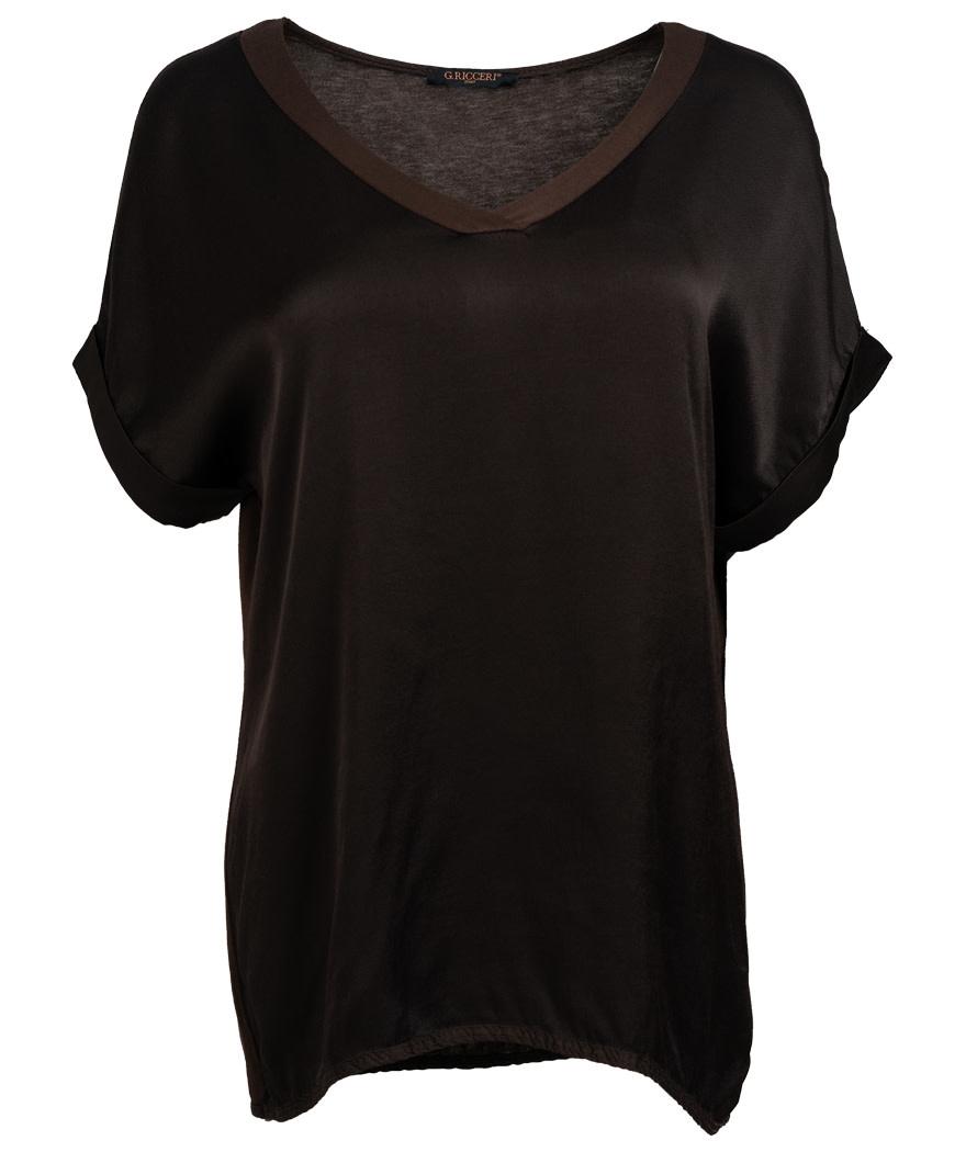 Gemma Ricceri Shirt silk touch v hals chocoladebruin