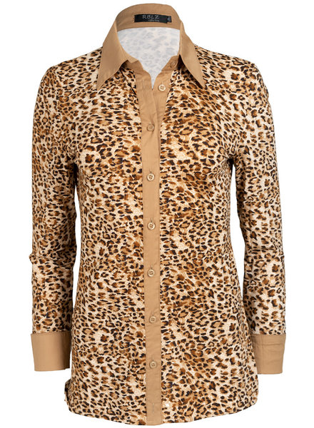 Rebelz Collection Blouse travel leopard Kelly beige