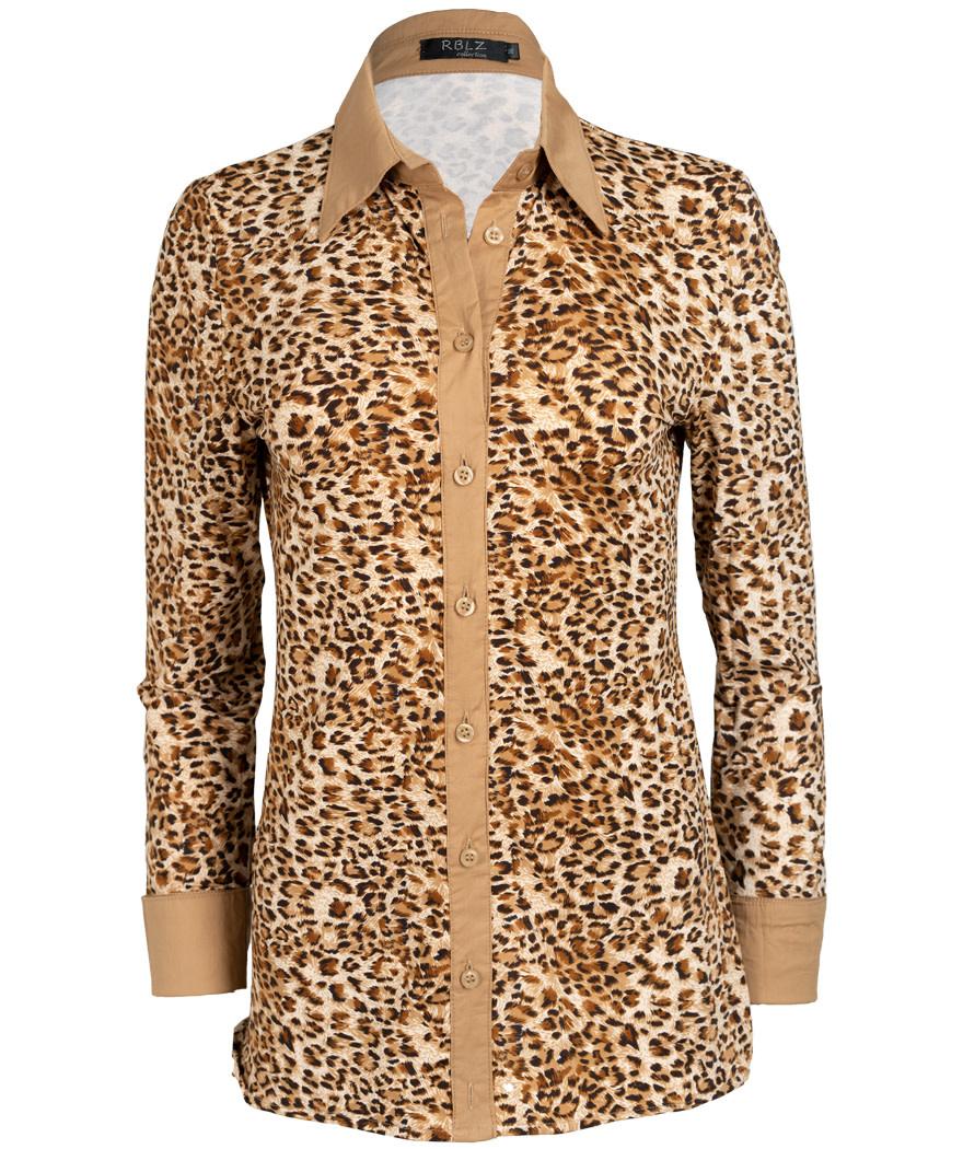 Rebelz Collection Blouse travel leopard Kelly beige