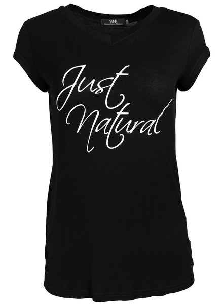 Wannahavesfashion Shirt just natural zwart/wit