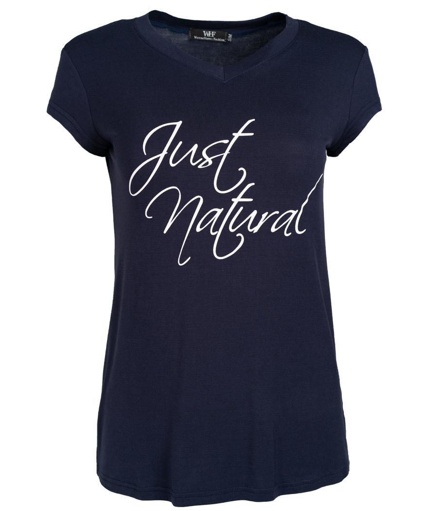 Wannahavesfashion Shirt just natural blauw/wit