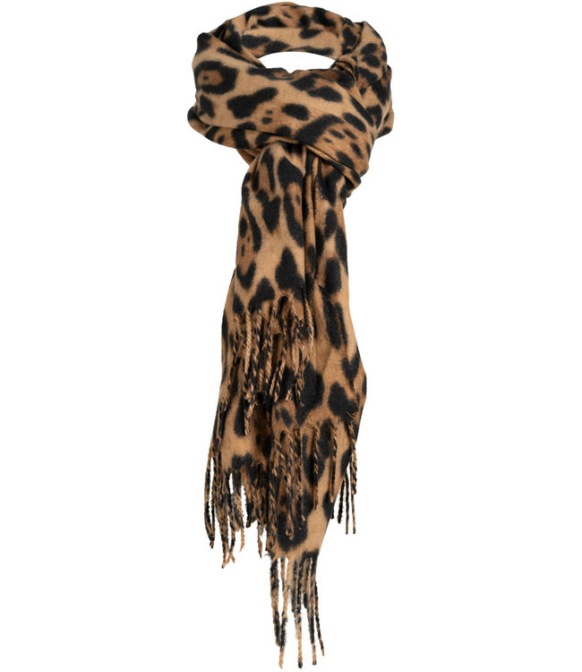 Wannahavesfashion Sjaal camel panterprint Fay