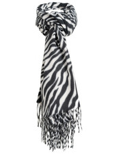 Wannahavesfashion Sjaal zwart/wit zebraprint