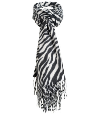 Wannahavesfashion Sjaal zwart/wit zebraprint