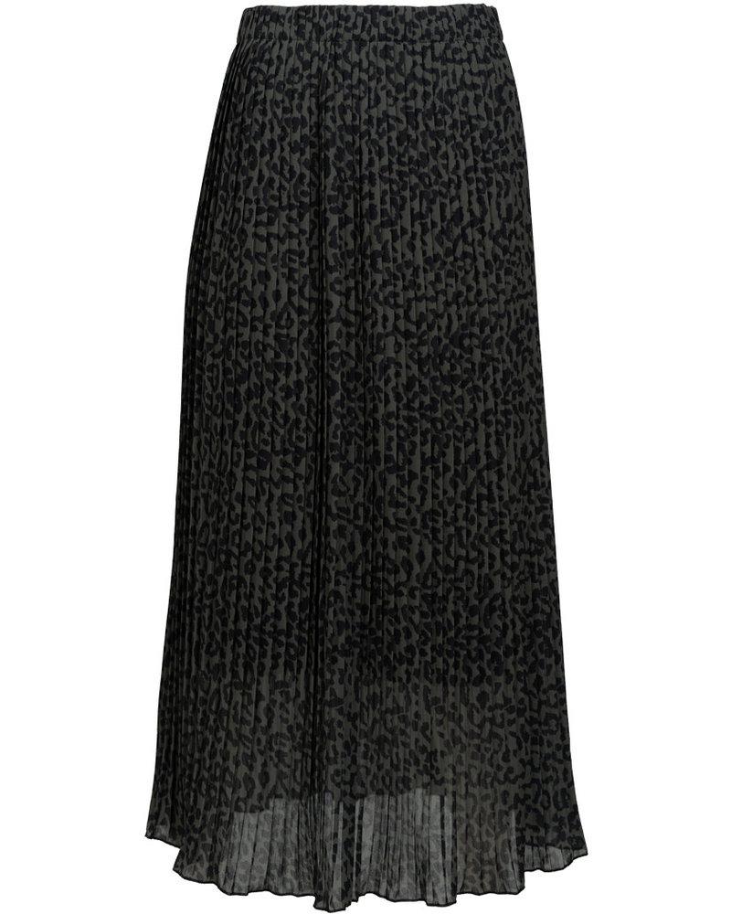 Wannahavesfashion Rok zwart/groen plissé Anita
