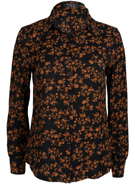 Rebelz Collection Blouse zwart/bruin Robin