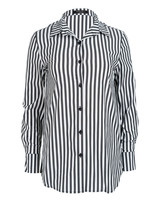 Rebelz Collection Blouse antraciet/wit streep