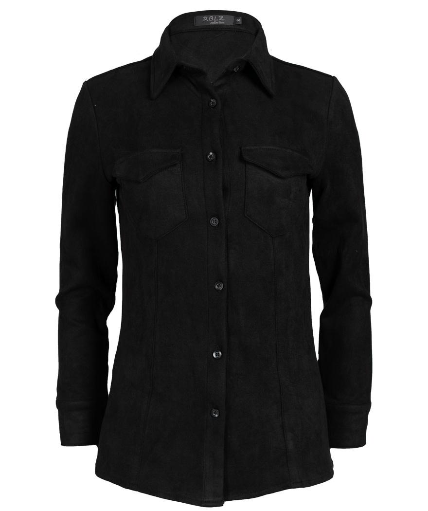 Rebelz Collection Blouse zwart suedine