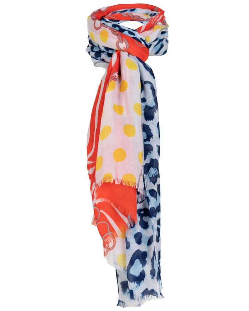 Wannahavesfashion Sjaal blauw/oranje Mien