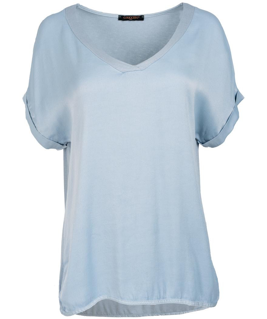 Gemma Ricceri Shirt lichtblauw silk touch v hals