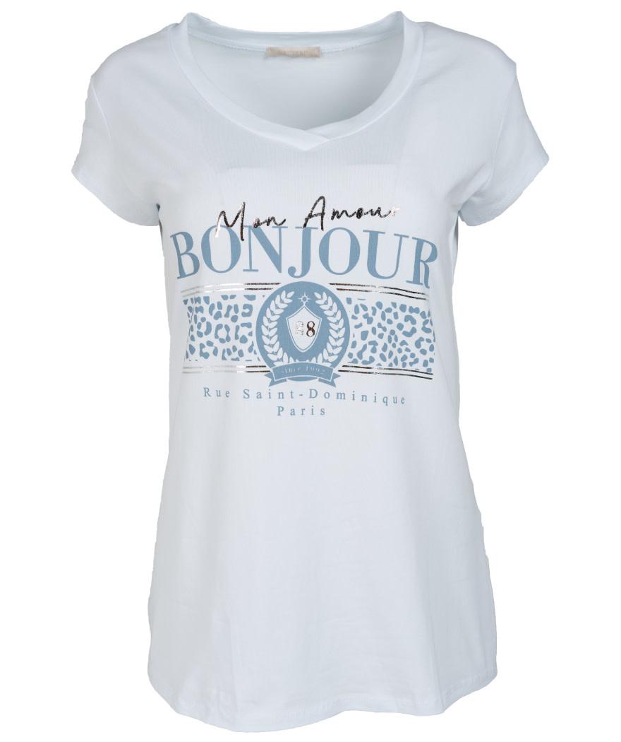 Gemma Ricceri Shirt wit/lichtblauw Bonjour