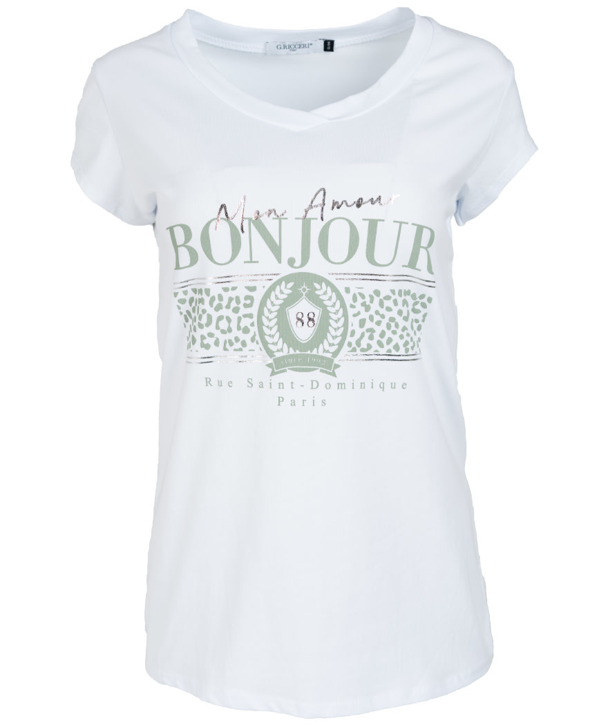 Gemma Ricceri Shirt wit/mintgroen Bonjour