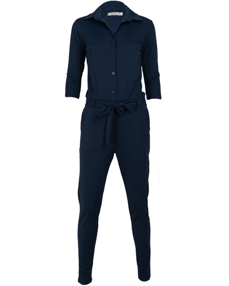 Vera Jo Jumpsuit travelstof blauw Rosalie