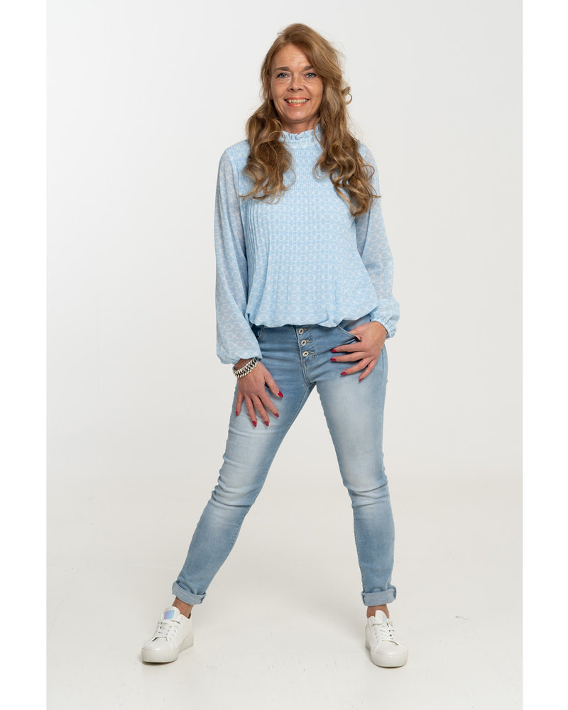 Gemma Ricceri Blouse lichtblauw/wit Linda