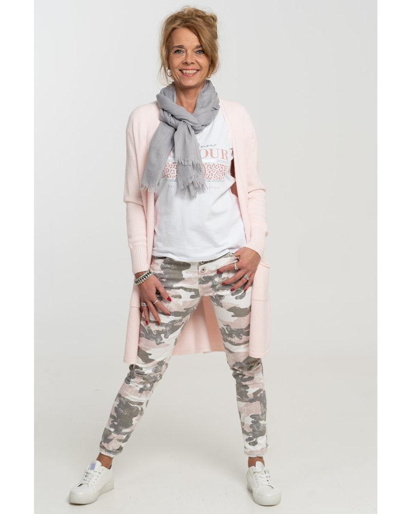 place du Jour jog jeans grijs/roze camouflage