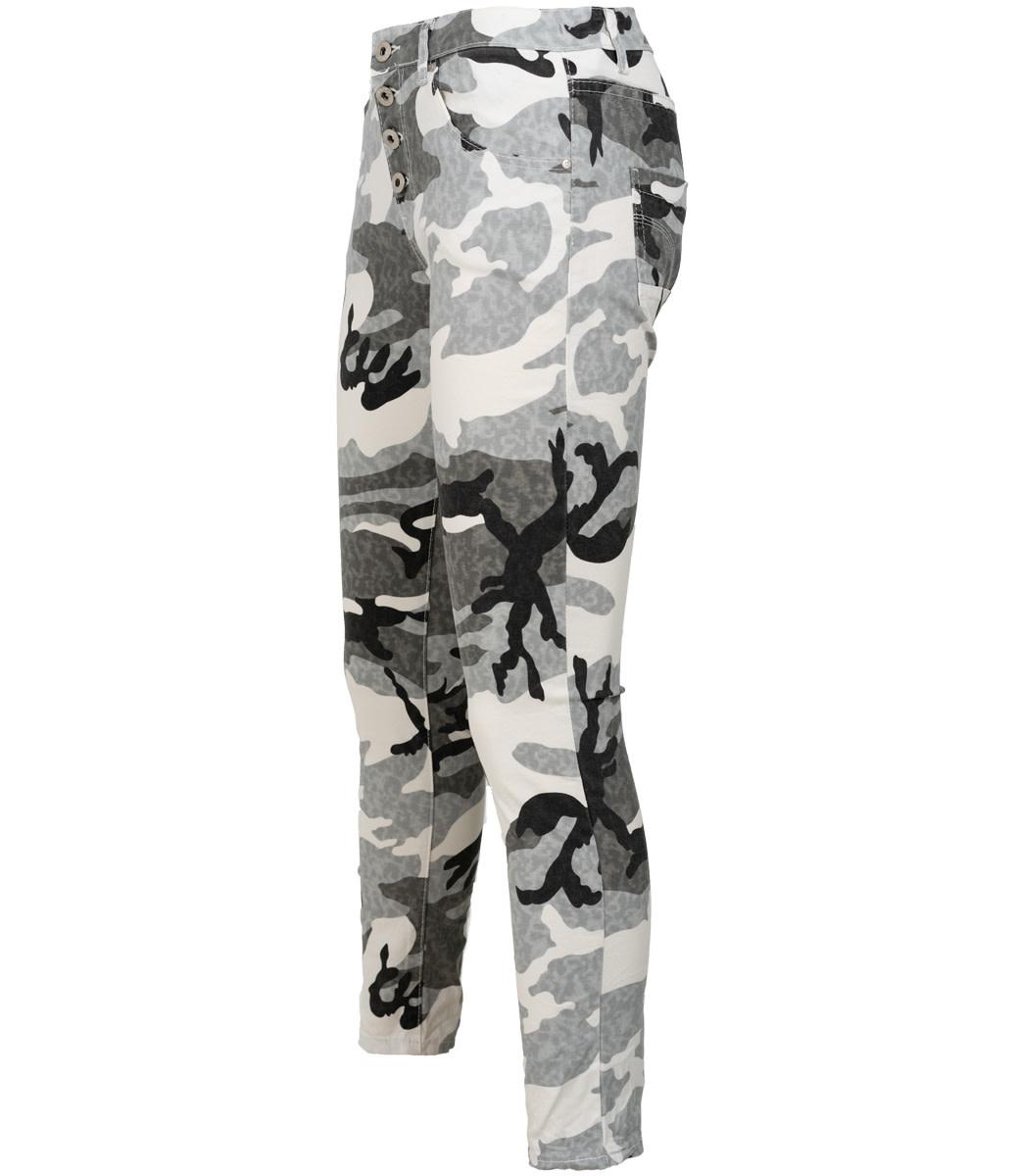 place du Jour Jog jeans grijs/wit camouflage
