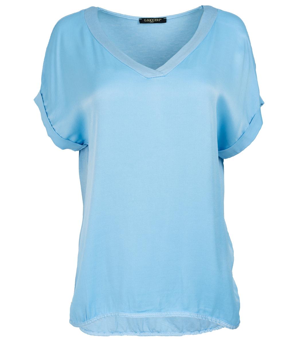 Gemma Ricceri Shirt lavendel silk touch v hals