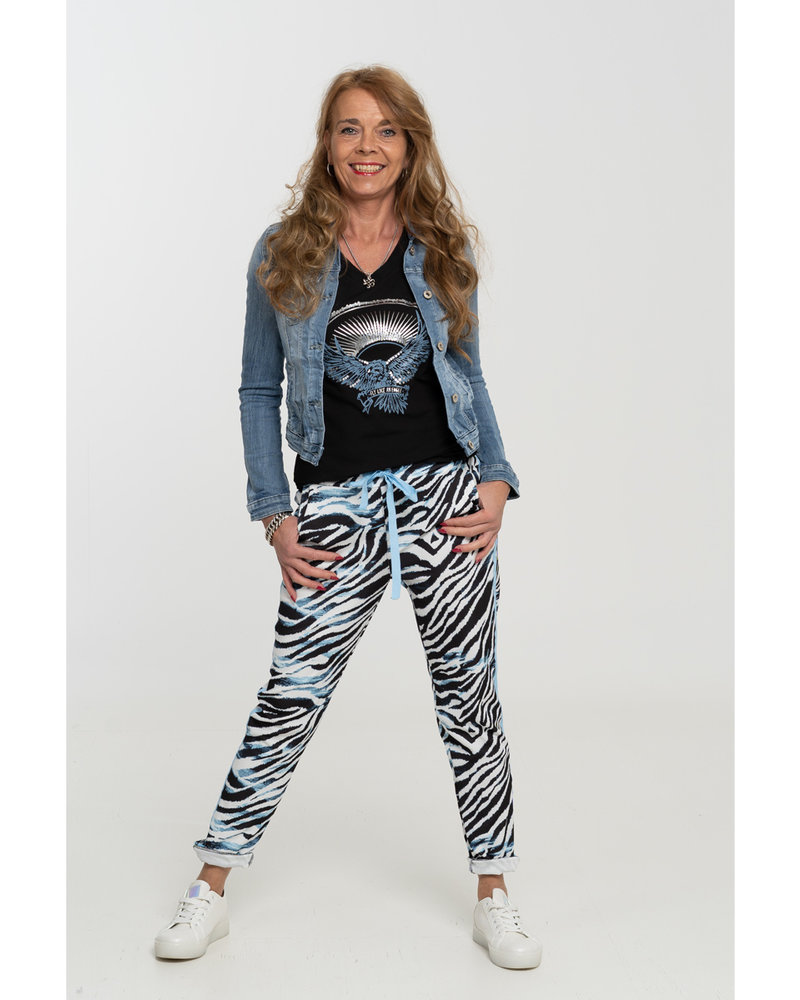 Gemma Ricceri Broek zwart/blauw zebraprint Reina