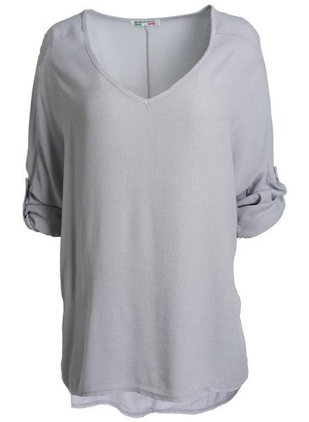 Wannahavesfashion Shirt grijs basic Dewi