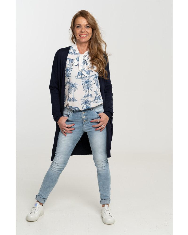 Gemma Ricceri Blouse off white/blauw Karin