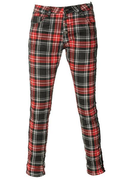 place du Jour Jeans ruit rood/zwart