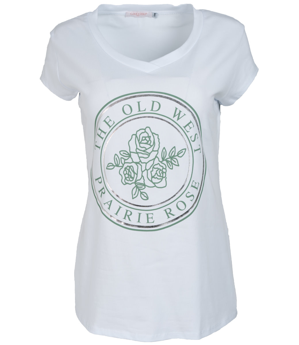 Gemma Ricceri Shirt wit/groen old west