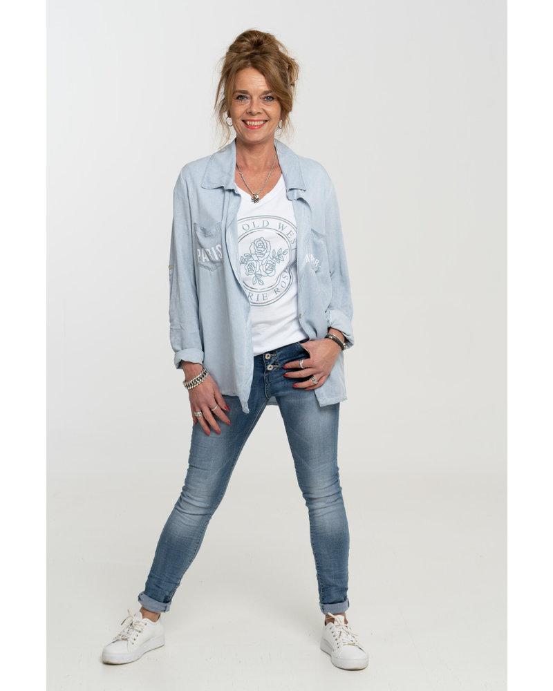 Gemma Ricceri Shirt wit/jeansblauw old west