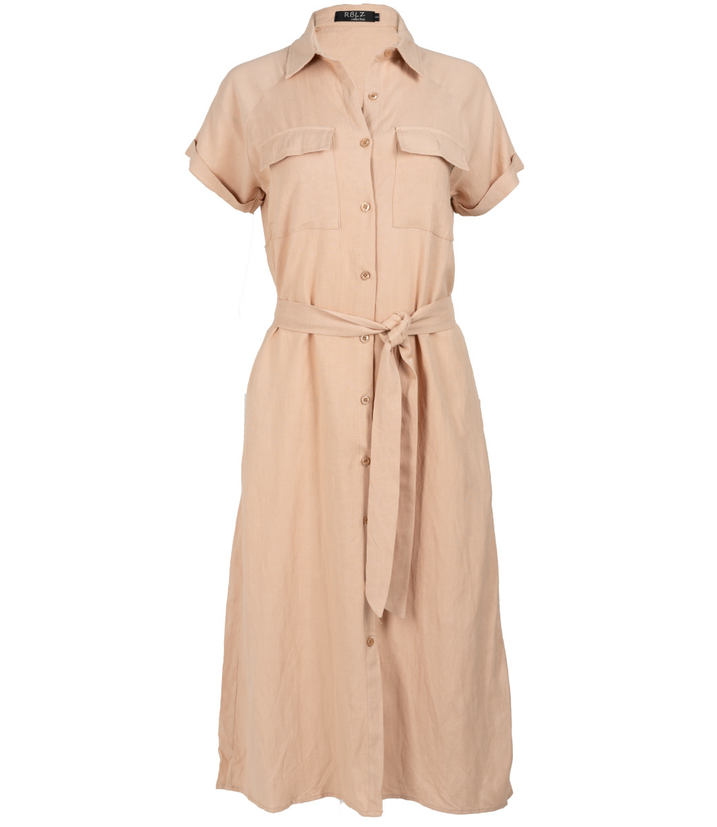 Rebelz Collection Jurk linnen maxi beige
