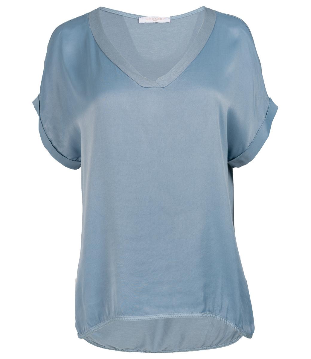 Gemma Ricceri Shirt silk touch v hals jeansblauw