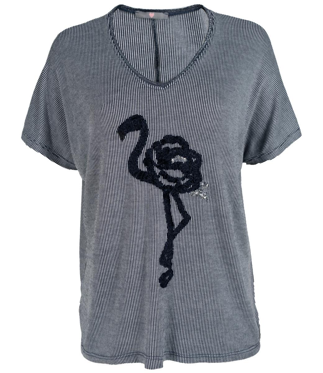 Wannahavesfashion Shirt blauw/wit flamingo