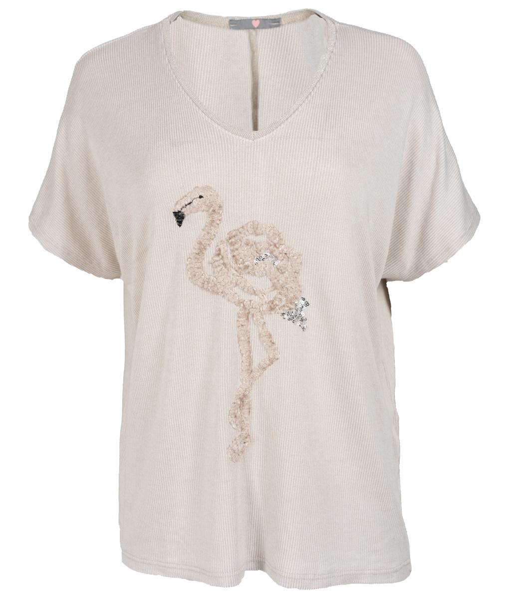 Wannahavesfashion Shirt beige flamingo