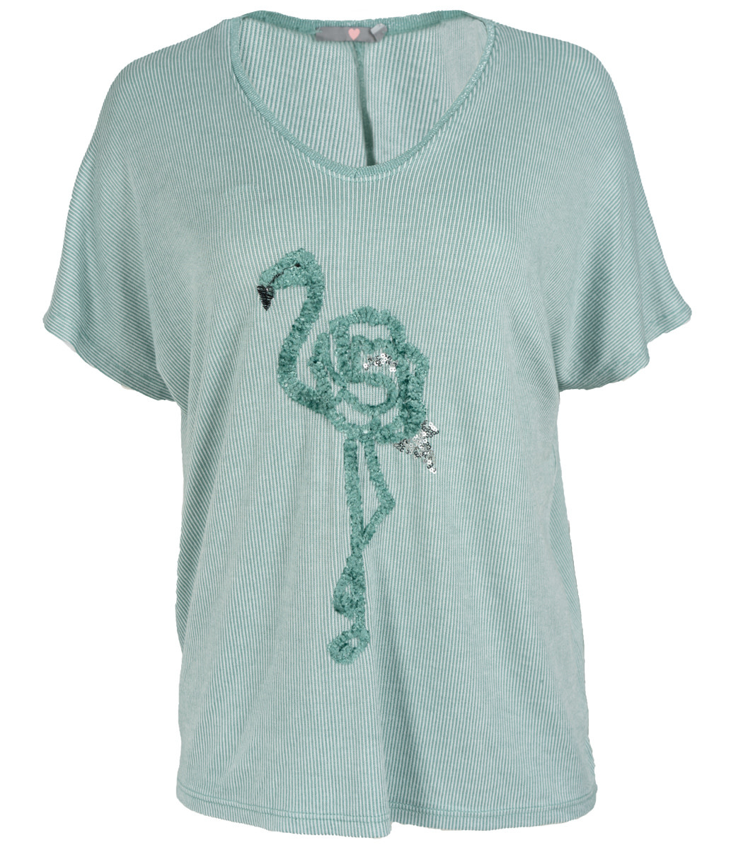 Wannahavesfashion Shirt mintgroen flamingo