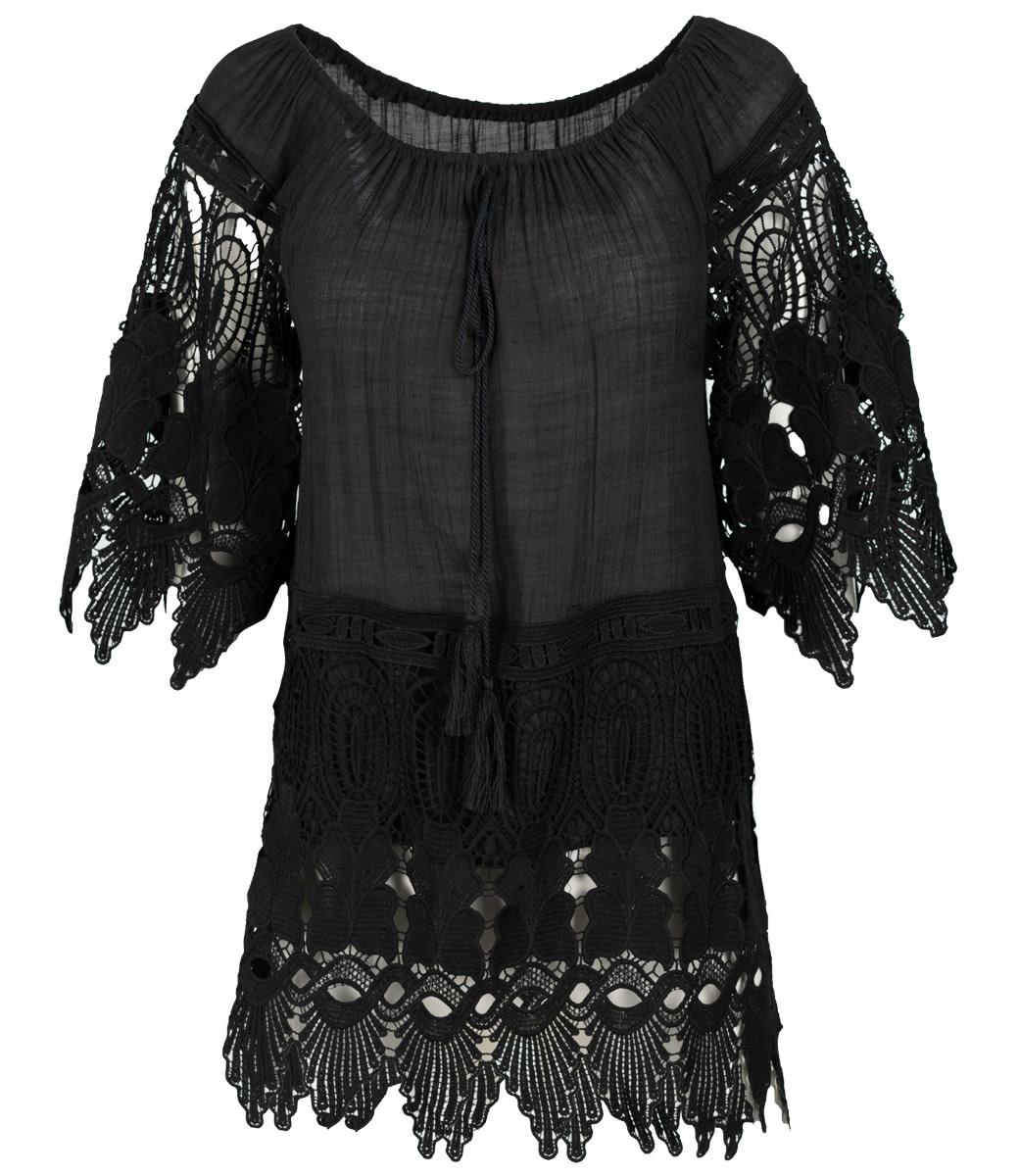 Wannahavesfashion Shirt zwart kant Trudy