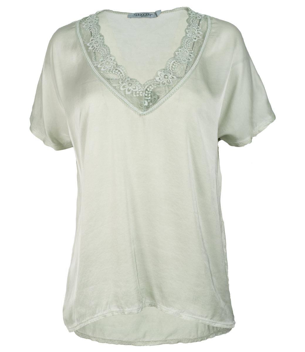Gemma Ricceri Shirt satijn groen Anja