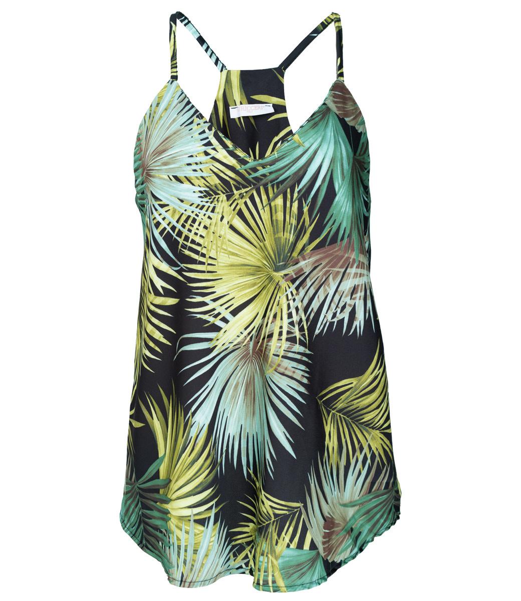 Gemma Ricceri Top zwart print Palm