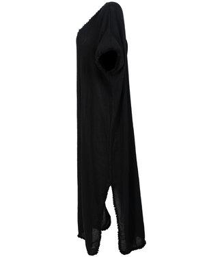 Wannahavesfashion Jurk zwart linnen Pat