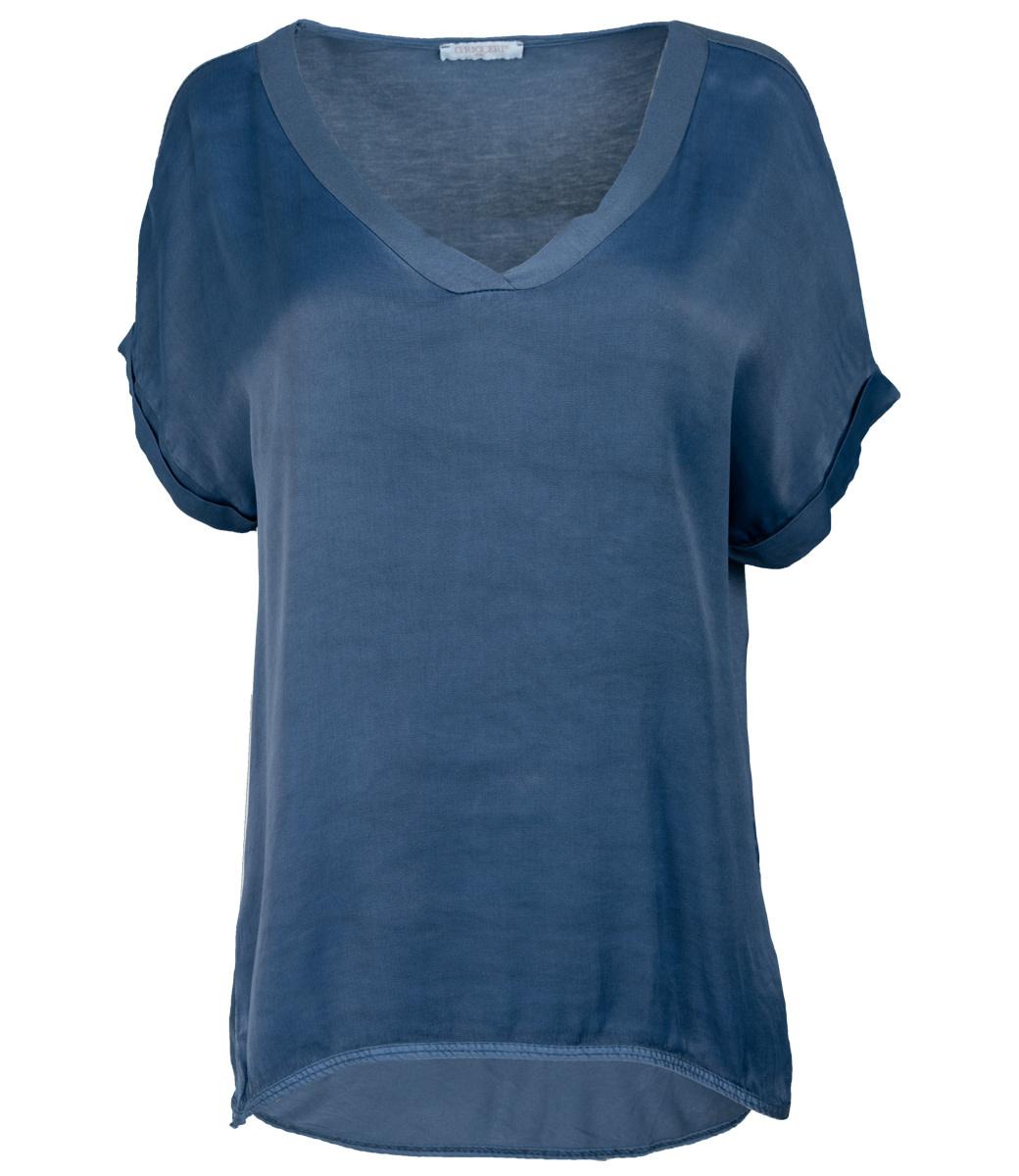 Gemma Ricceri Shirt blauw silk touch v hals
