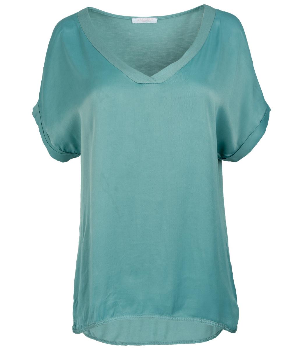 Gemma Ricceri Shirt mintgroen silk touch v hals
