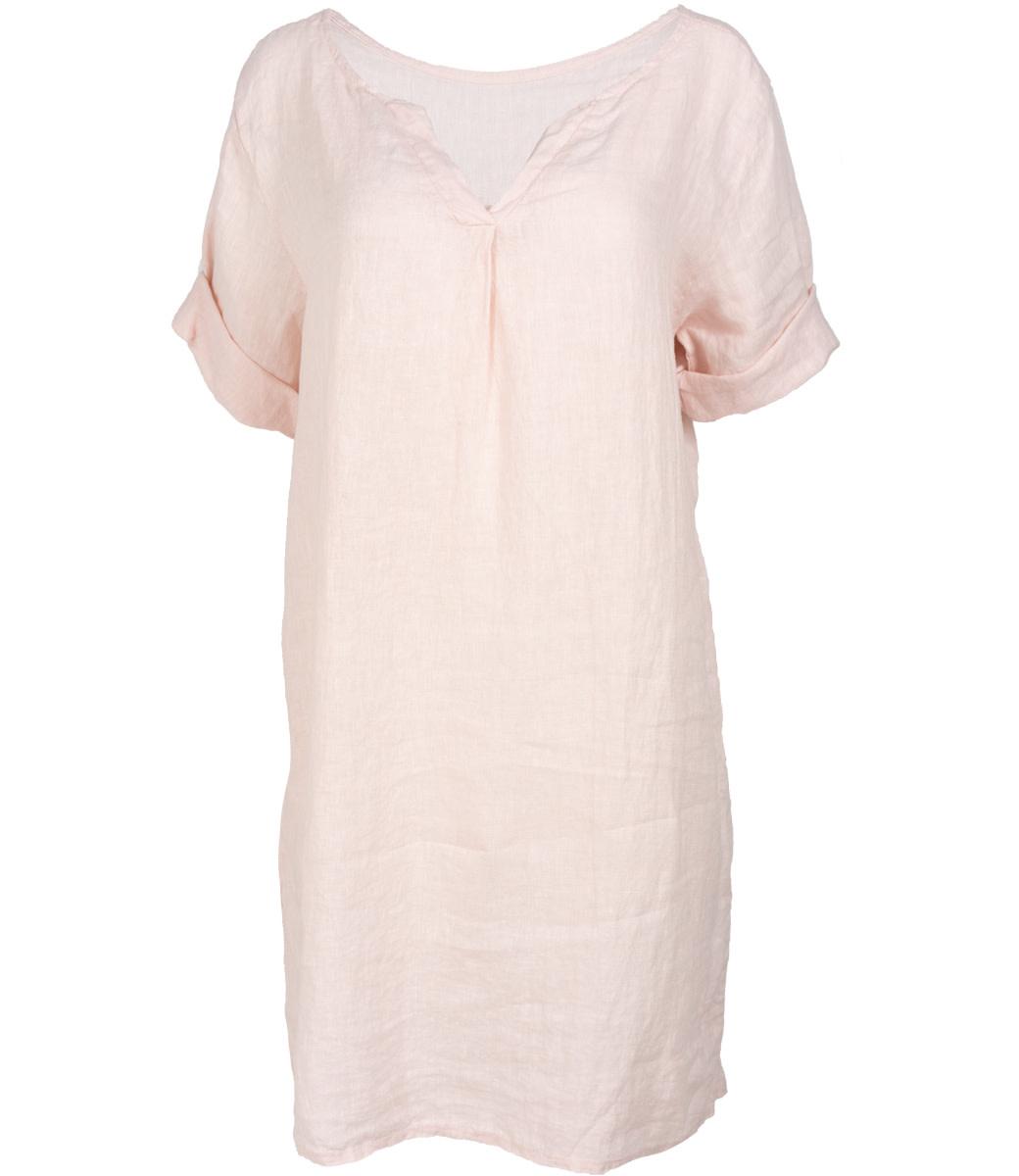 Wannahavesfashion jurk linnen roze Neli