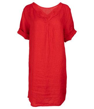 Wannahavesfashion Jurk linnen rood Neli