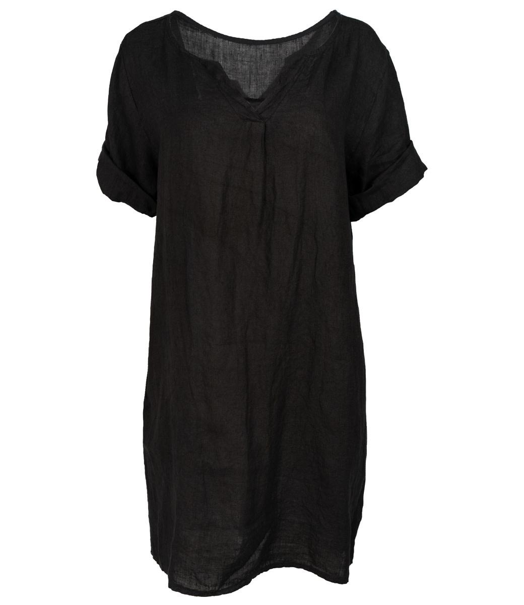 Wannahavesfashion jurk linnen zwart Neli
