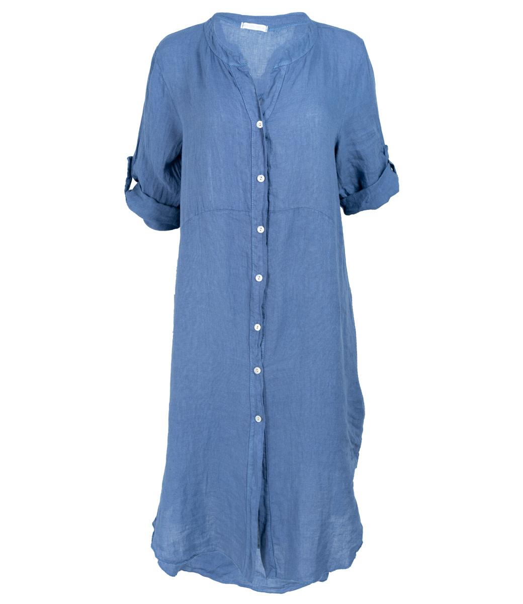 Wannahavesfashion Jurk linnen blauw Zora