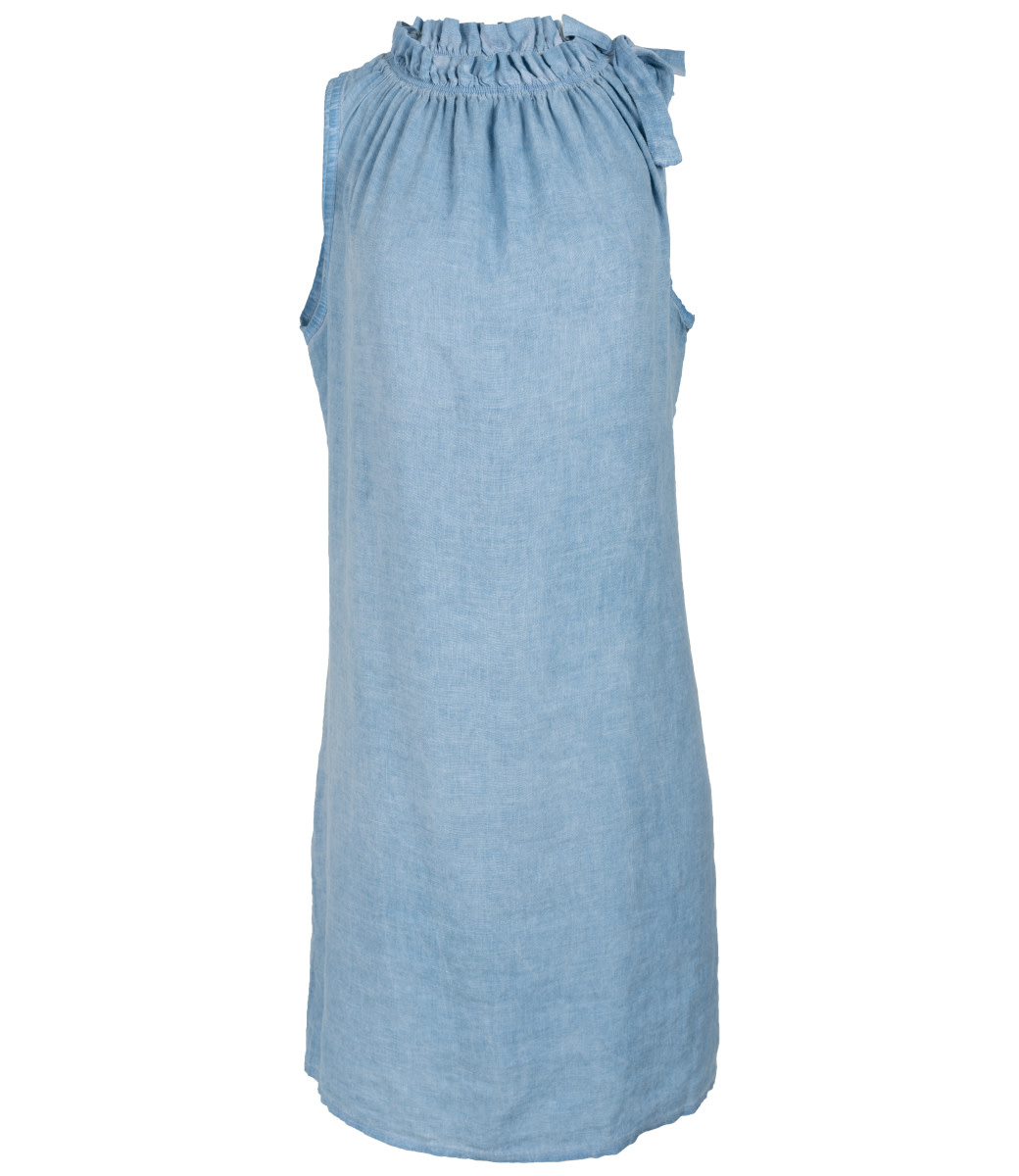 Wannahavesfashion Jurk blauw halter linnen