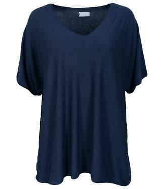 Wannahavesfashion Shirt donkerblauw v hals Lilly
