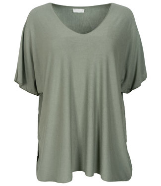 Wannahavesfashion Shirt groen v hals Lilly